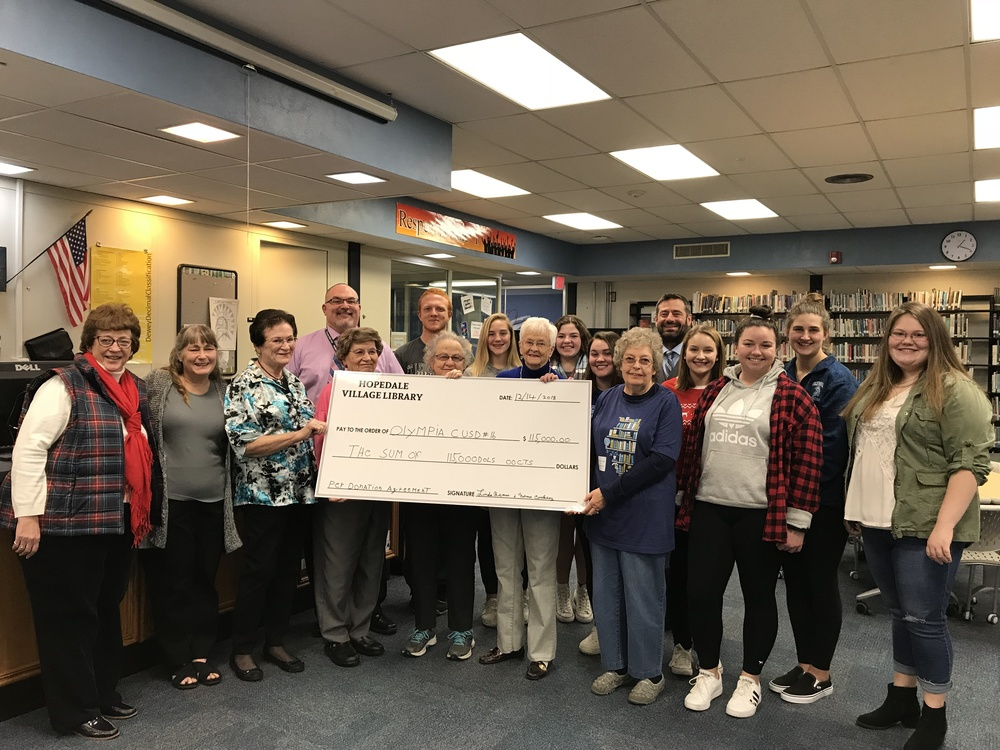 Olympia Receives $115,000 From Hopedale Library Board