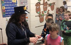 Students at West ride The Polar Express