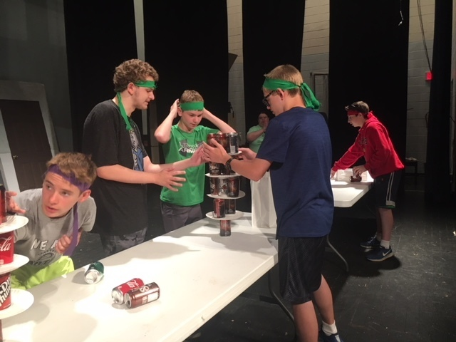 7th grade students compete in a building challenge as part of the Advisory Olympics.
