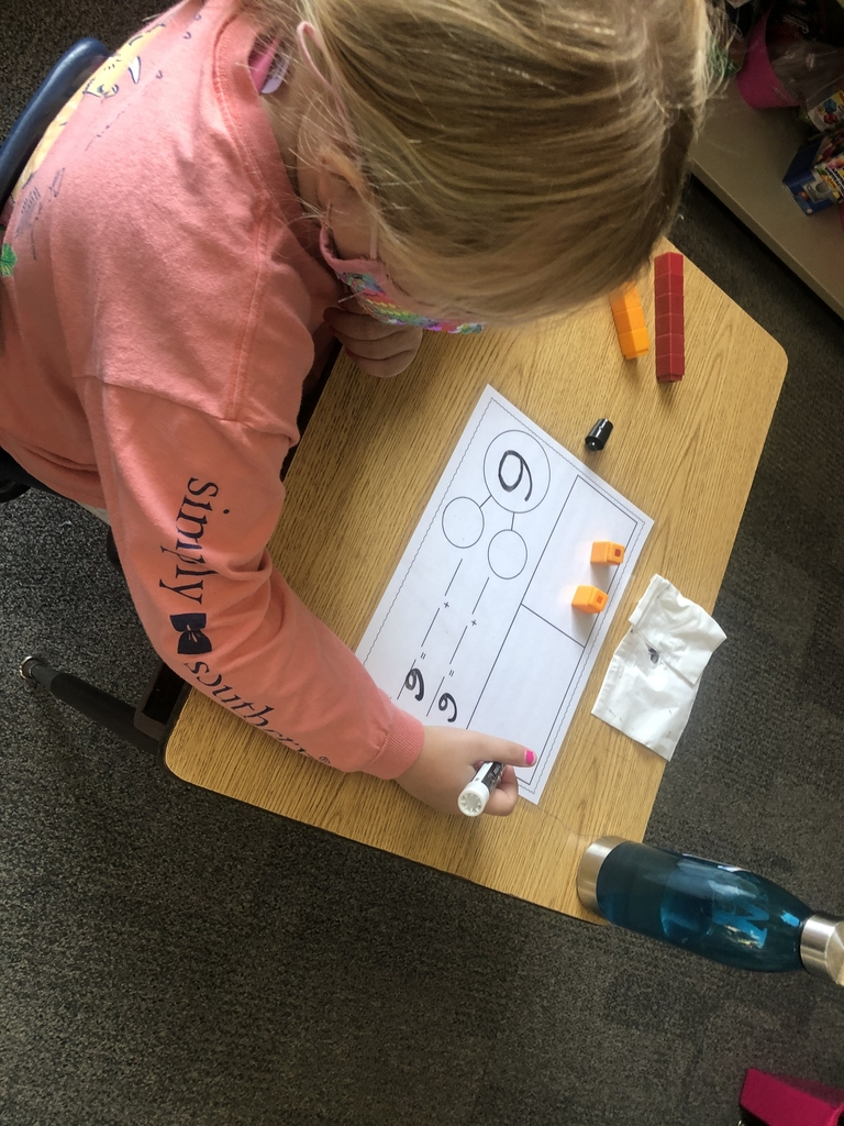 Using manipulatives to help see how to create a number sentence.