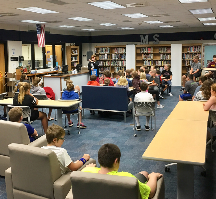 6th Grade students learn what the media center has to offer.