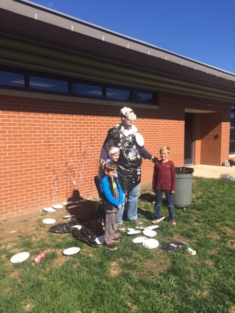 Top 3 Walk-a-Thon earners got to throw pies at Mr. Hurley!