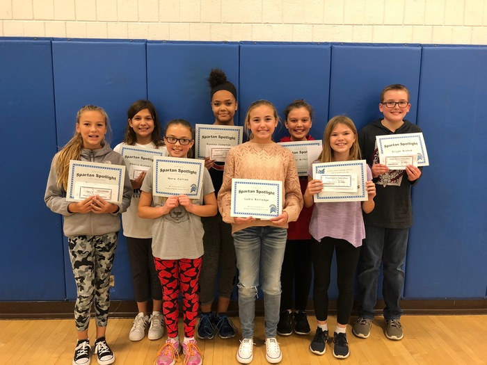 6th grade Spartan Spotlight recipients
