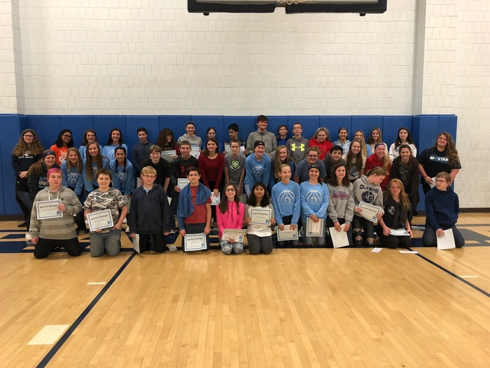 8th grade Spartan Spotlight recipients