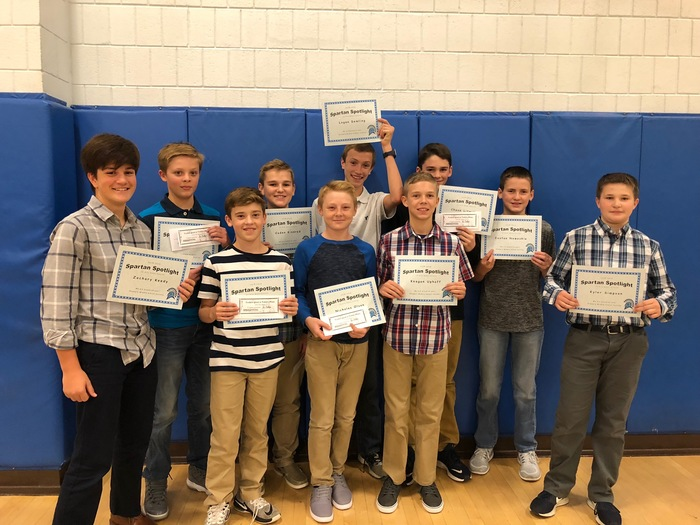 7th grade basketball Spartan Spotlight recipients