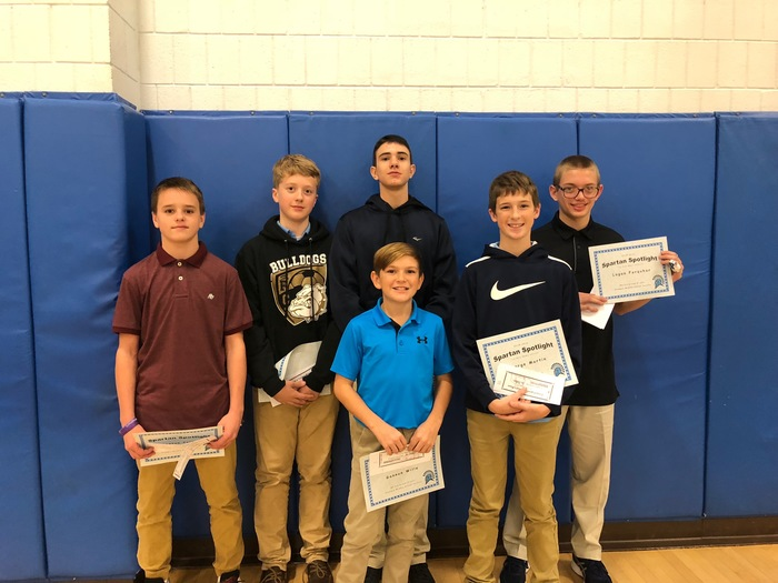 8th grade basketball Spartan Spotlight recipients
