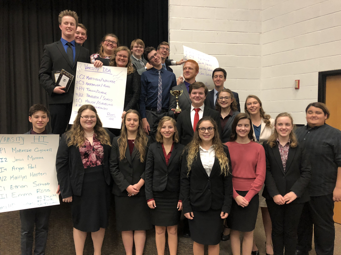 Speech team with their awards at Normal West
