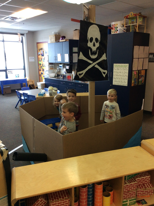 AM Students playing in the Pirate Ship during Centers.