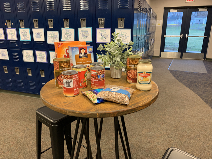 Our first donations for the 4th-5th grade canned food drive.