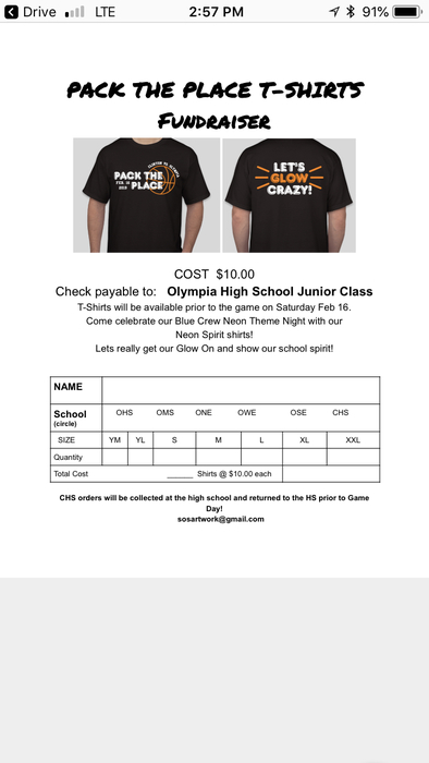 Tshirt Order Form due Friday 2-8