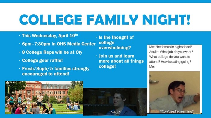 College Family Night flyer