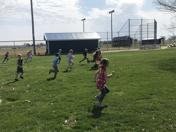 Kindergartners practicing for the mile run