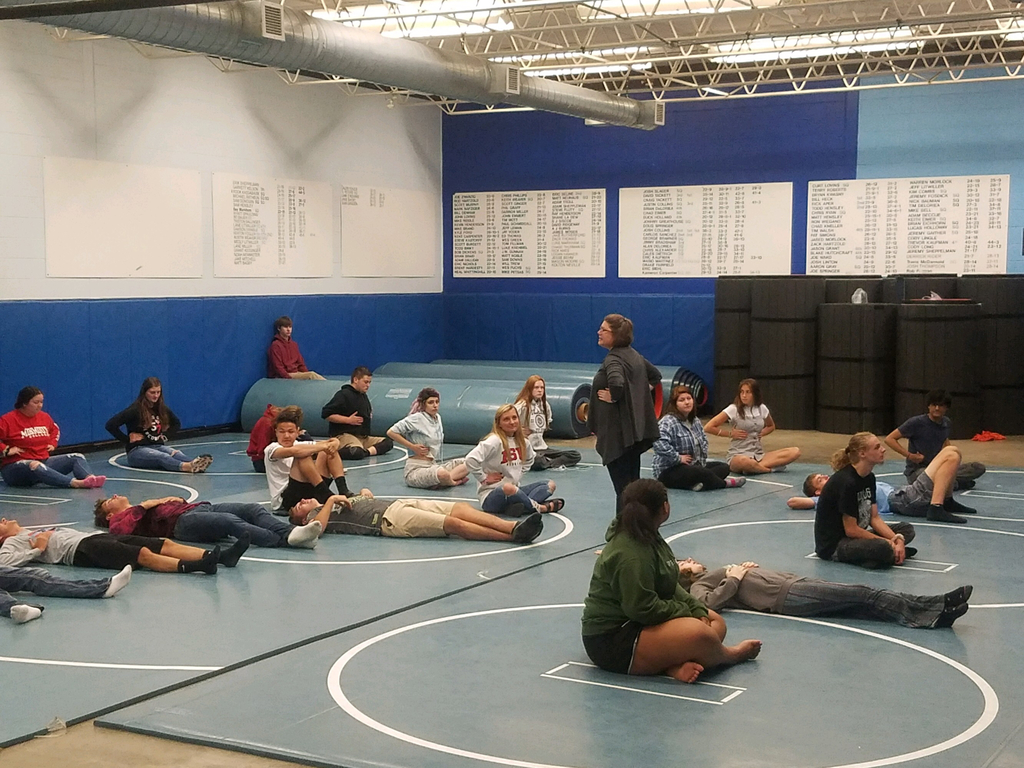 Seniors practiced mindfulness through yoga and relaxation tequniques from Mrs. Knuffman, OHS English teacher and yoga instructor
