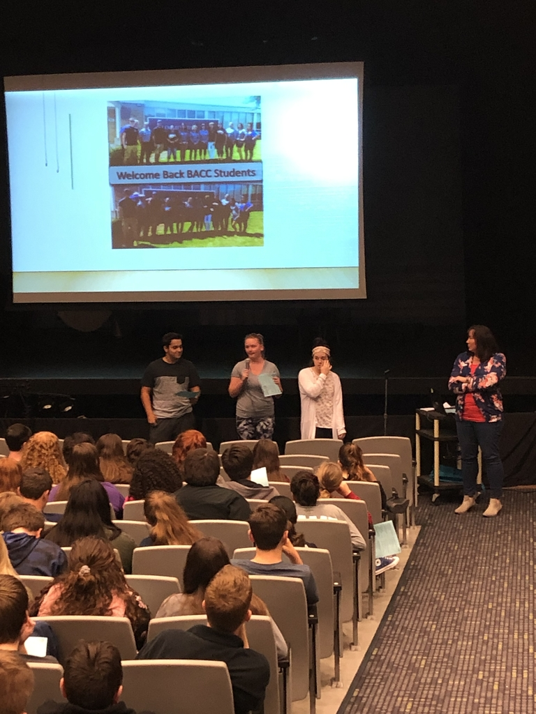 Underclassmen learned about applying to the Bloomington Area Career Center from Peggy Arbuckle and current BACC students. Emily Saddler also came our to share about College and Career opportunities through the Illinois Extension.