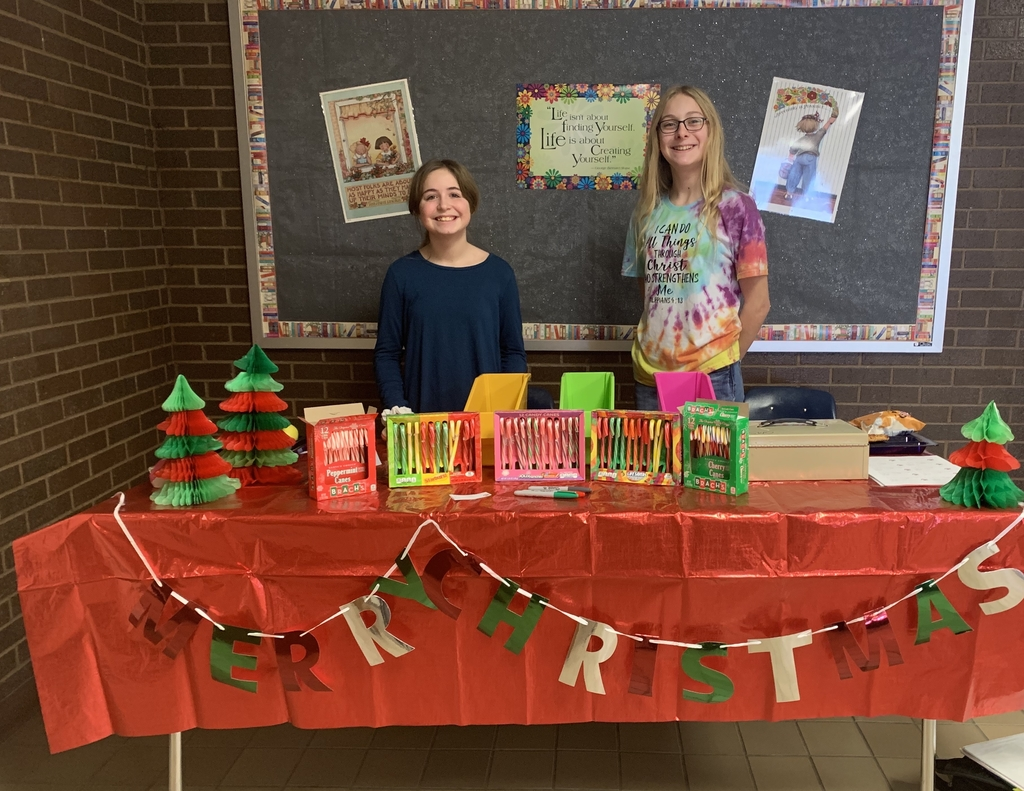 Student Council members are selling candy cane grams during lunch all week.