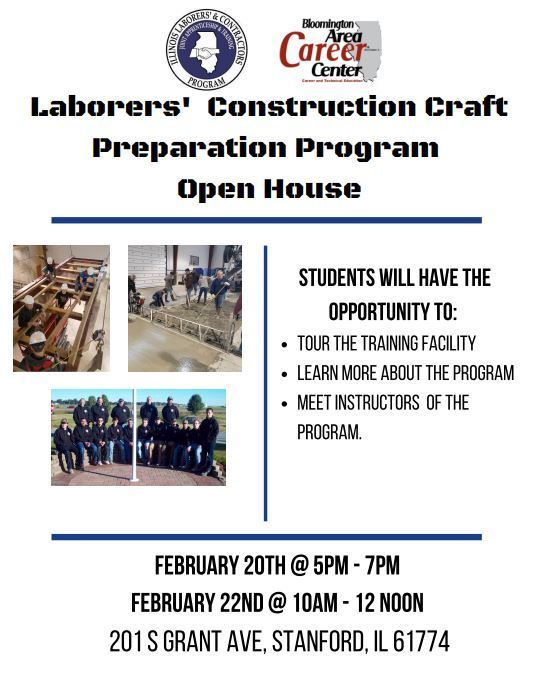 Laborers' Construction Craft Preparation Program Open House tonight in Stanford!