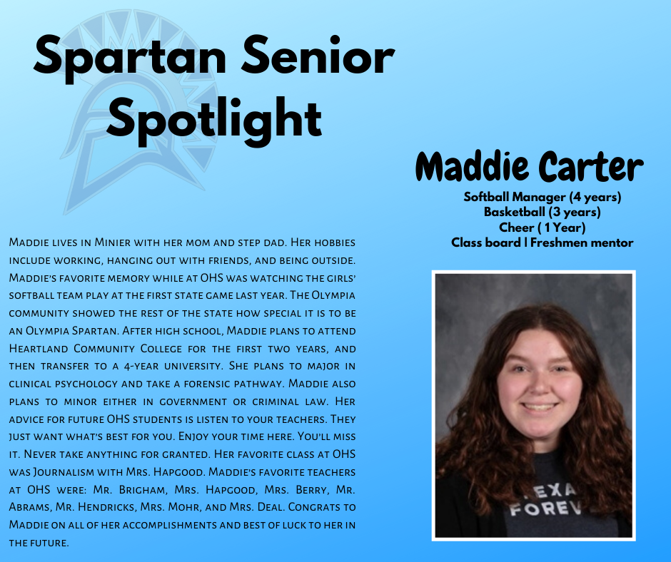 Senior Spartan Spotlight-Maddie Carter