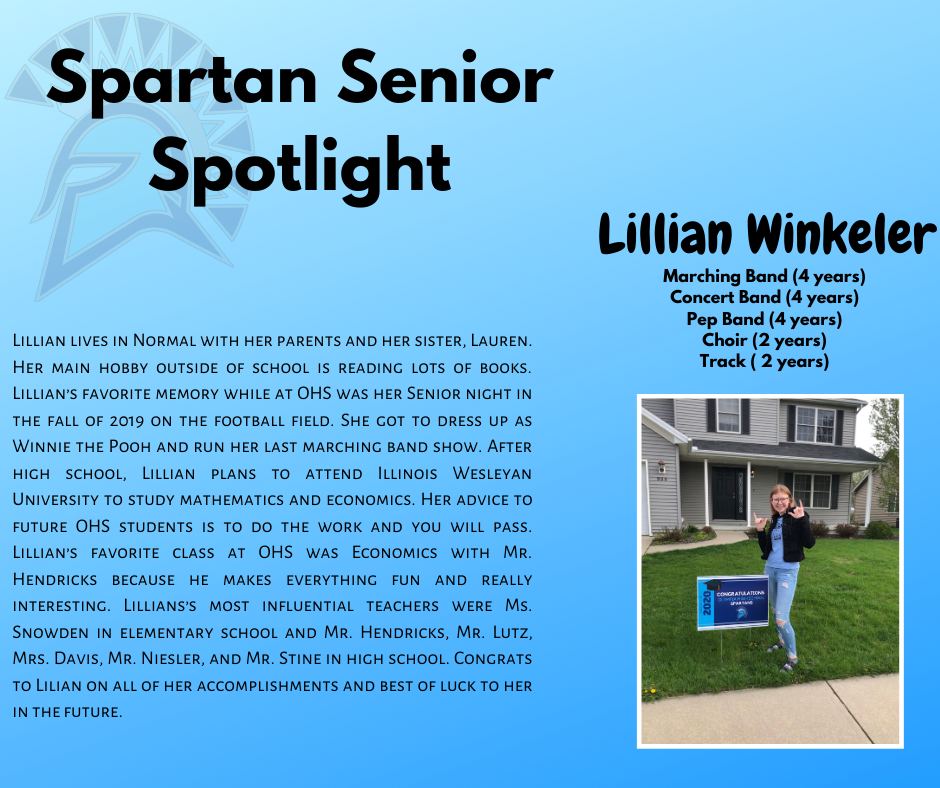 Spartan Senior Spotlight- Lillian Winkeler