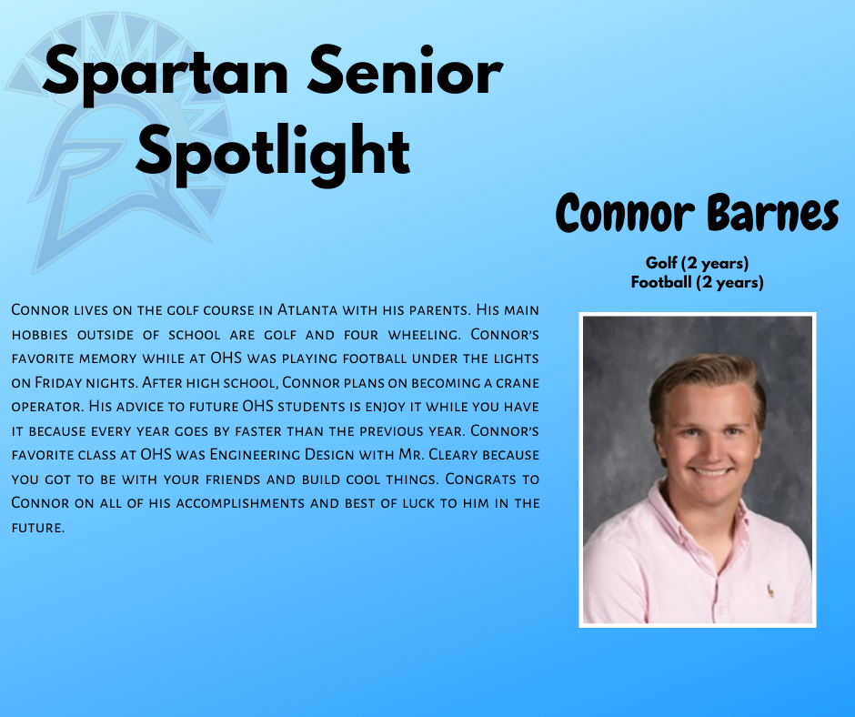 Spartan Senior Spotlight-Connor Barnes