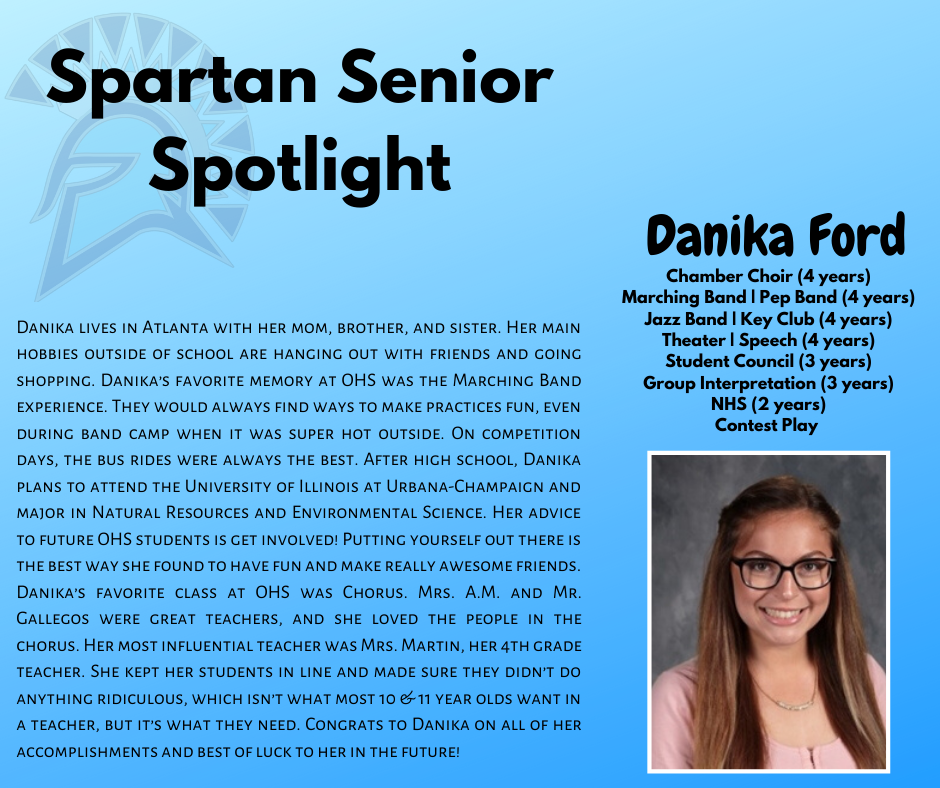 Spartan Senior Spotlight-Danika Ford