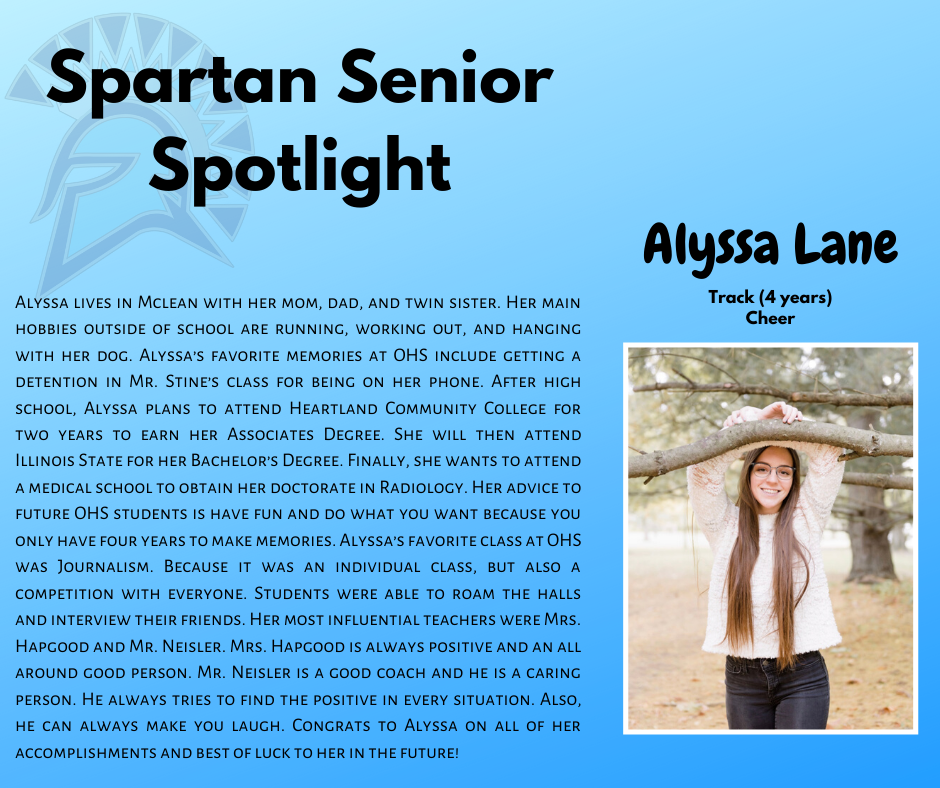 Spartan Senior Spotlight- Alyssa Lane