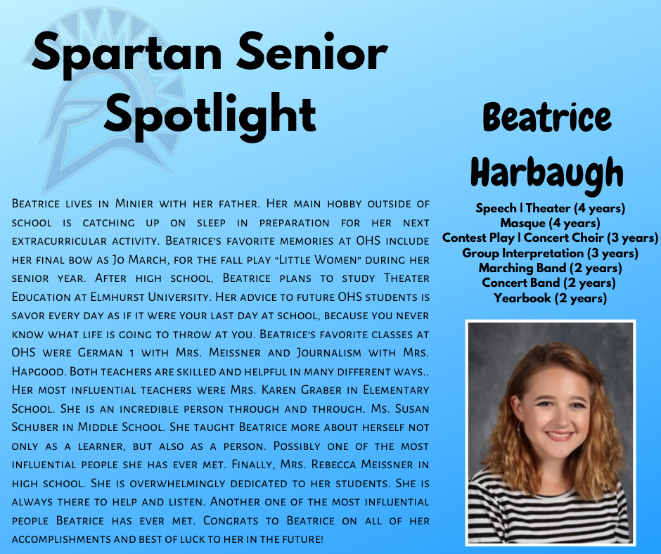 Spartan Senior Spotlight-Beatrice Harbaugh