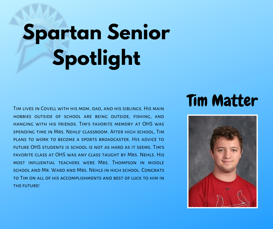 Tim Matter-Spartan Senior Spotlight