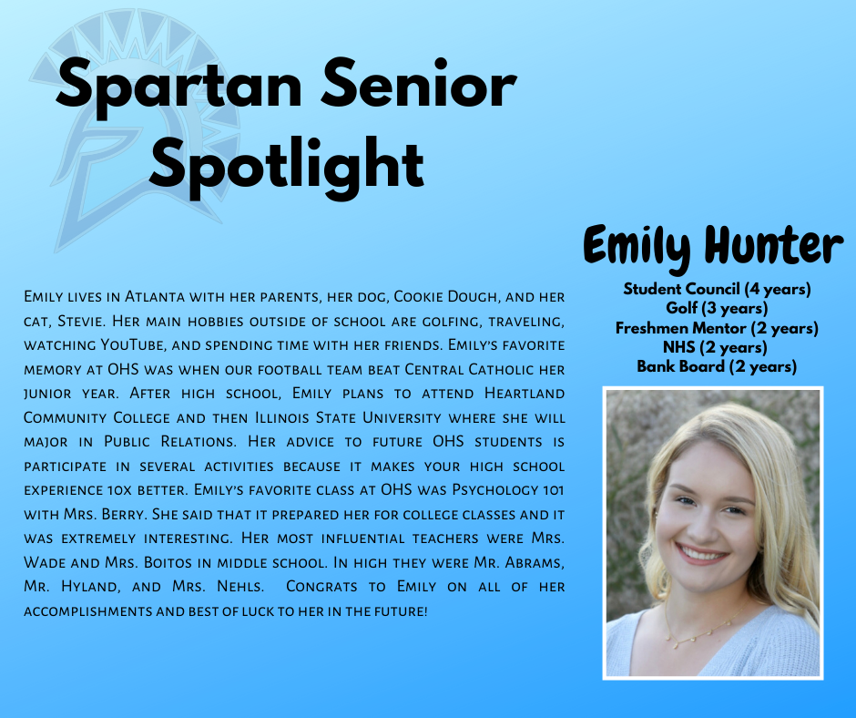 Spartan Senior Spotlight-Emily Hunter