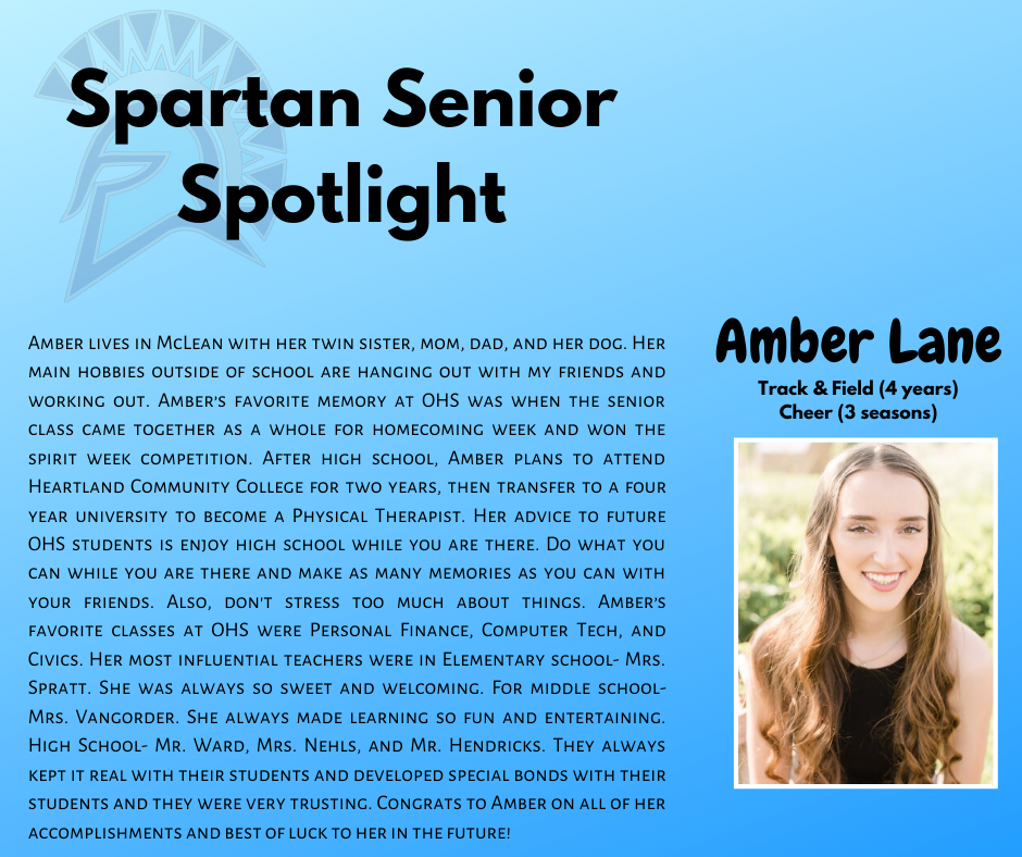 Spartan Senior Spotlight- Amber Lane