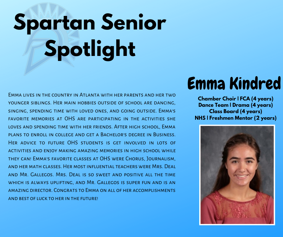 Spartan Senior Spotlight- Emma Kindred