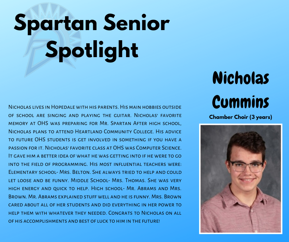Spartan Senior Spotlight-Nicholas Cummins