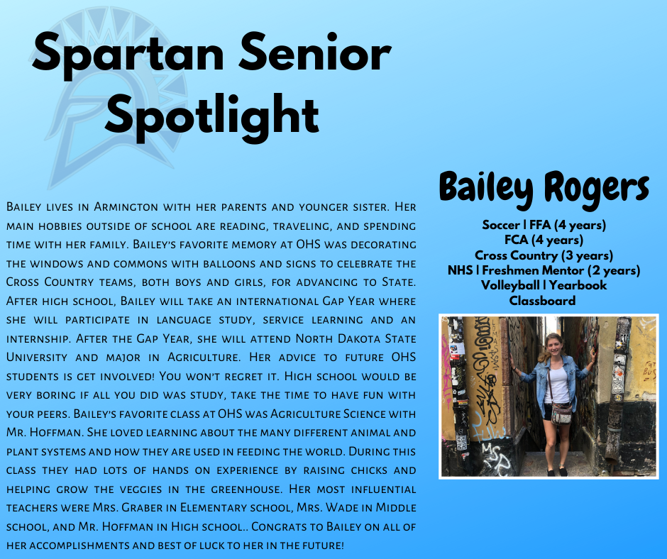 Spartan Senior Spotlight- Bailey Rogers