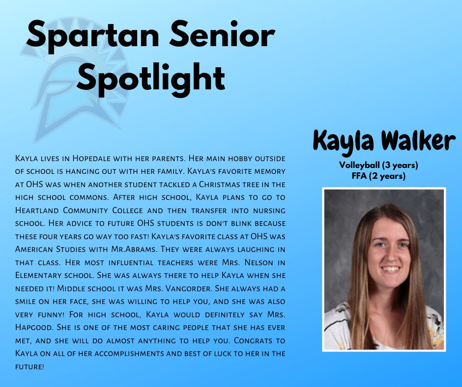 Spartan Senior Spotlight-Kayla Walker