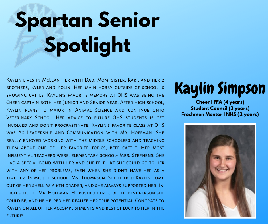 Spartan Senior Spotlight-Kaylin Simpson