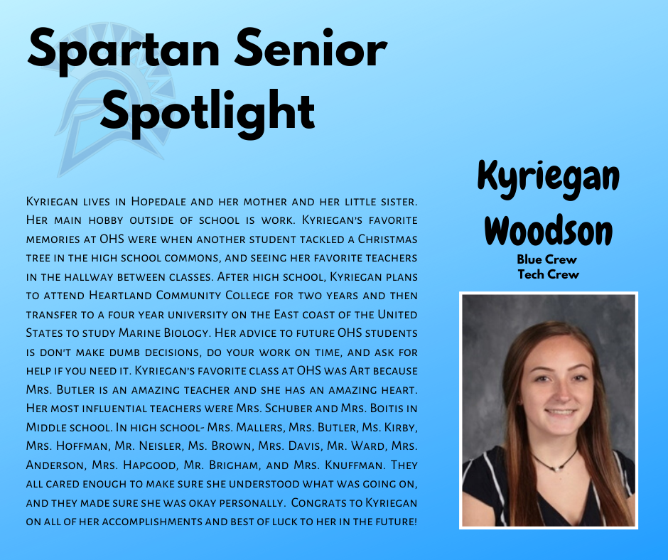Spartan Senior Spotlight-Kyriegan Woodson
