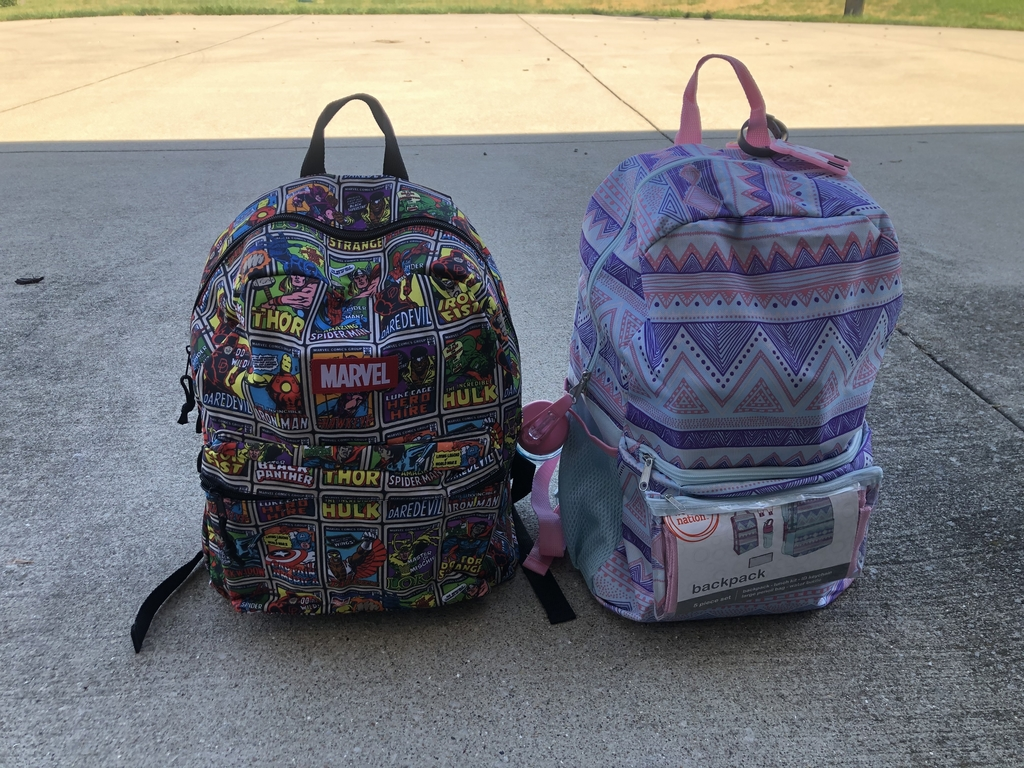 Backpacks filled with supplies.