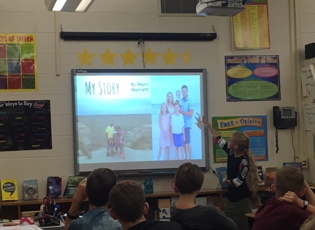 7th grade students present 'My Story' projects.