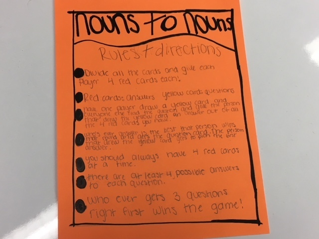 Directions for Nouns to Nouns, an Apples to Apples style card game.