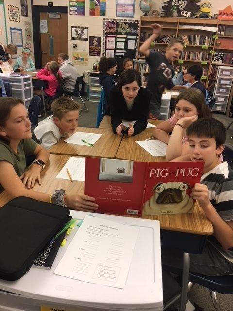 7th grade students reading Pig the Pug to determine the point of view.